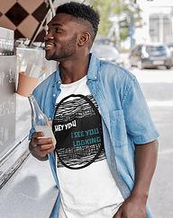 black man wearing shapeit gym & street wear t-shirt drinking soda