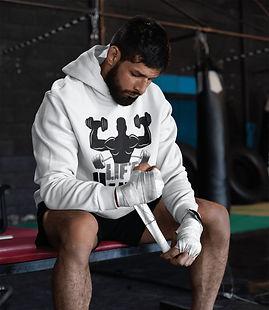Man wearing Shapeit Gym & Street Wear Lift Heavy white Hoodie