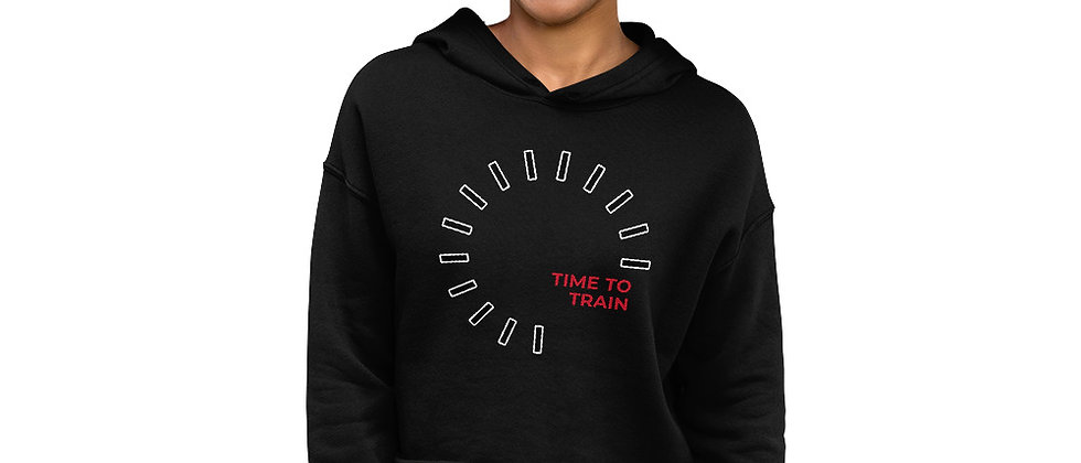 Women's Black Cropped Hoodie   Time To Train