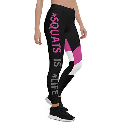 Squats is Life White & Pink exercise leggings.