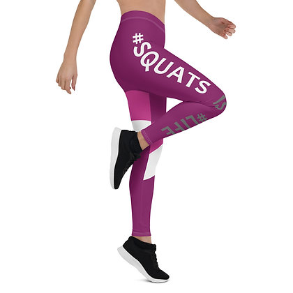 Squats is Life Purple & Pink exercise leggings.