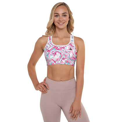 Pink Hydro Dip precision padded sports bra for extra comfort.