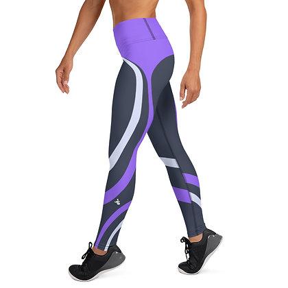 Purple Ribbon exercise leggings.