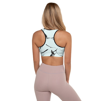 Ink Grout On Blue precision padded sports bra for extra comfort.