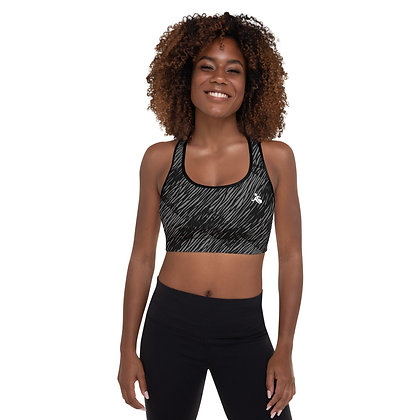 Brushed Gray precision padded sports bra for extra comfort.