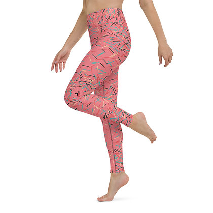 Pink Confetti Explosion exercise leggings.