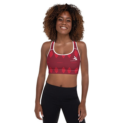 Passionately red precision padded sports bra for extra comfort.
