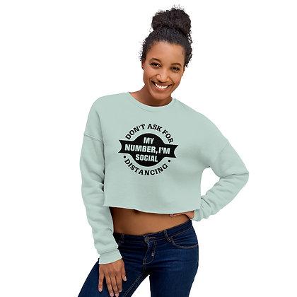 Dusty Blue Women's Cropped Sweatshirt - Social Distancing