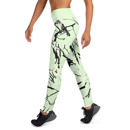Ink Grout On Green exercise leggings.