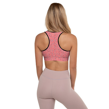 Pink Confetti Explosion precision padded sports bra for extra comfort.