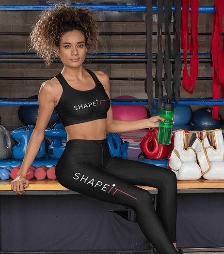 Woman wearing black shapeit gym & street wear leggings and bra set