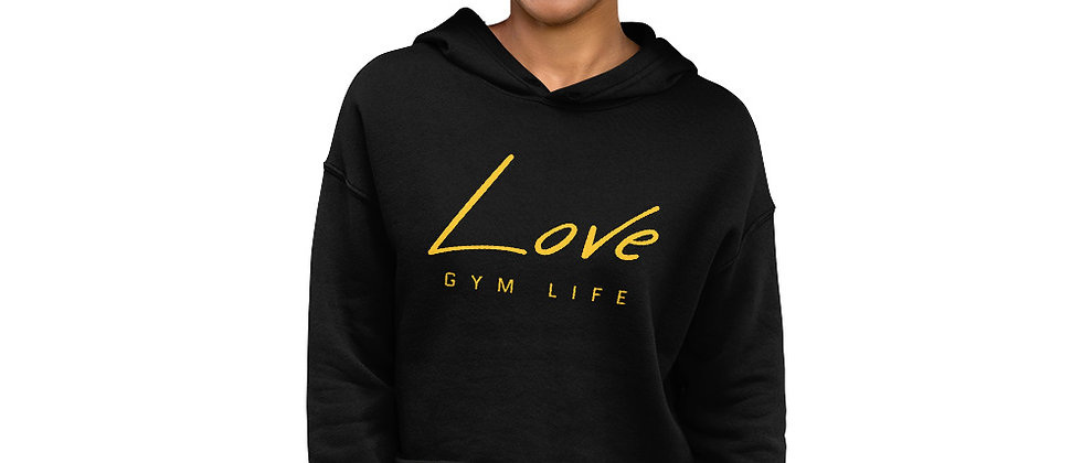 Women's Black Cropped Hoodie | Love Gym Life