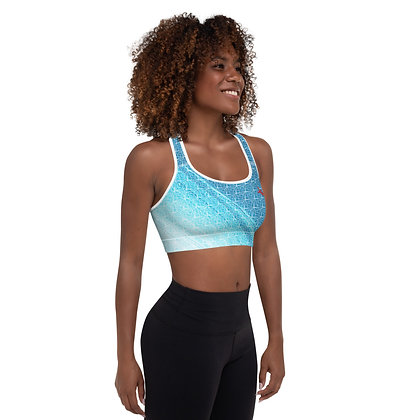 Crystal Shard Blue precision padded sports bra for extra comfort.