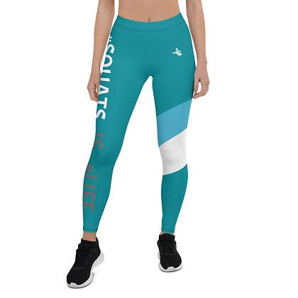 Squats is Life Blue & White exercise leggings.