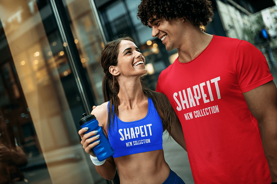 man and woman wear shapeit gym and street wear t-shirt and sports bra