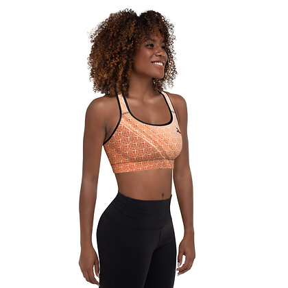 Crystal Shard Orange precision padded sports bra for extra comfort.