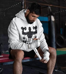 man wering shapeit gym and street wear hoodie