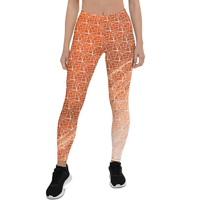 Crystal Shard Orange exercise leggings. #FITGIRL