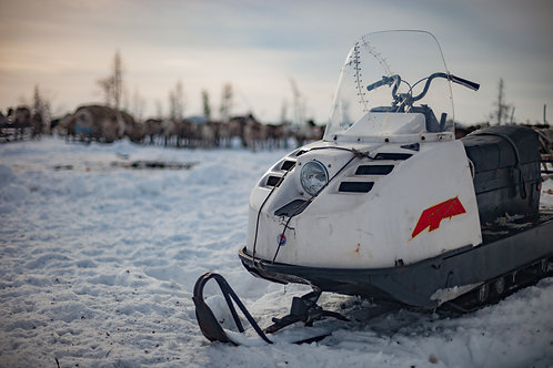 Snowmobile With Stitched Windshield