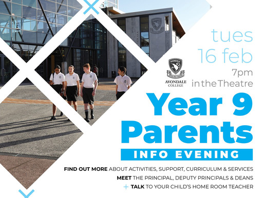 Year 9 Parent Info Evening - Tues 16 Feb