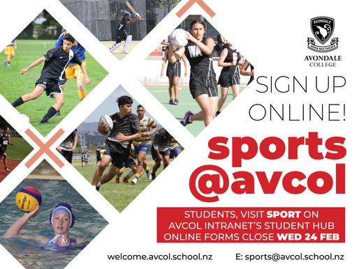 Students, sign up online for sports!