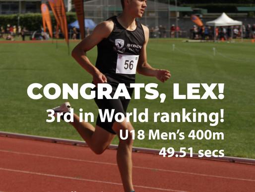 Lex Revell-Lewis ranks 3rd in world for 400m