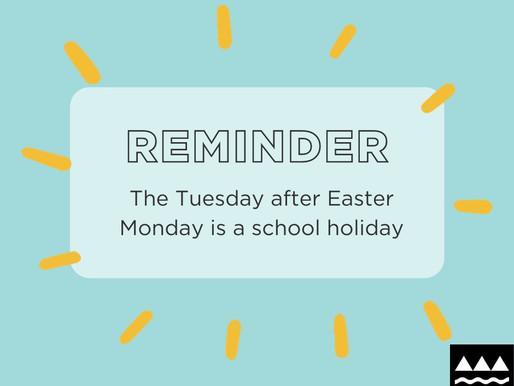 No school: Tuesday 6 April