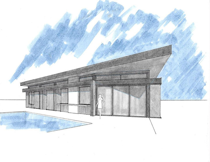 On the board in San Clemente, sketch from the rear. Expansive roof overhangs provide passive cooling and articulation from the nearby ocean waves.
