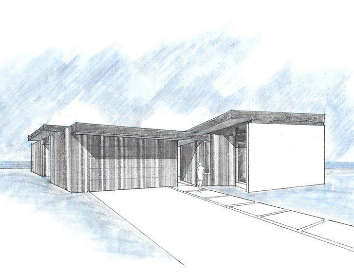 On the board in San Clemente, a sketch from the front. Thermally treated spruce will clad the exterior walls.