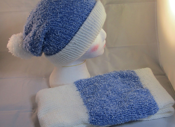 Blue and white hand made woolen knitted  Beanie and matching scarf