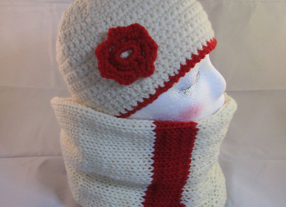 Cream and red woolen crochet hat with handmade cream and red knitted scarf.