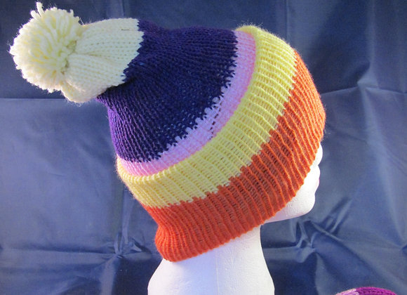 Rainbow coloured handmade woolen knitted beanie
