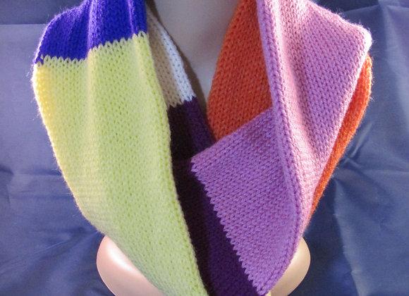 Rainbow coloured infinity scarf