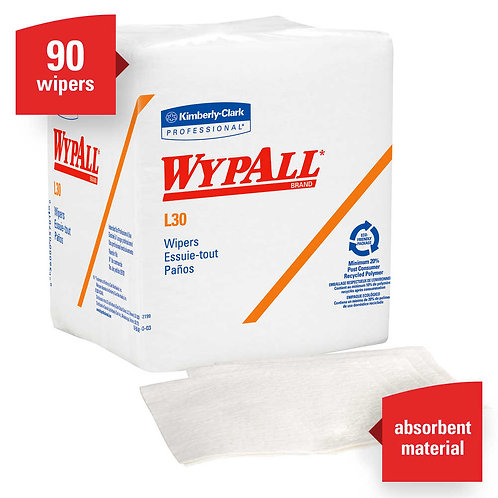 Wypall KC 05812 L30 Light-Duty Cleaning Cloths, White, 1/4 Fold