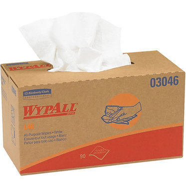 WypAll KC 03046 L40 Disposable Cleaning Cloths, White, Pop-Up Box