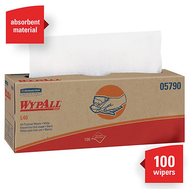Wypall KC 05790 L40 Cleaning Cloths, White, Pop-Up Box