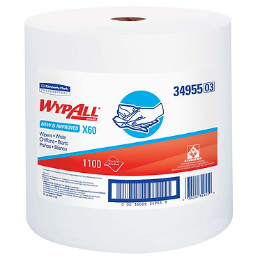 Wypall KC 34955 X60 Roll Cleaning Cloths, White, Jumbo Roll
