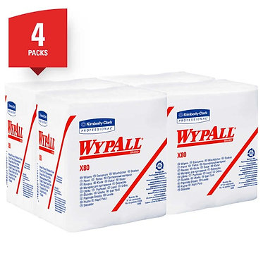 Wypall KC 41026 X80 Extended Use Cleaning Cloths, White, 1/4 Fold