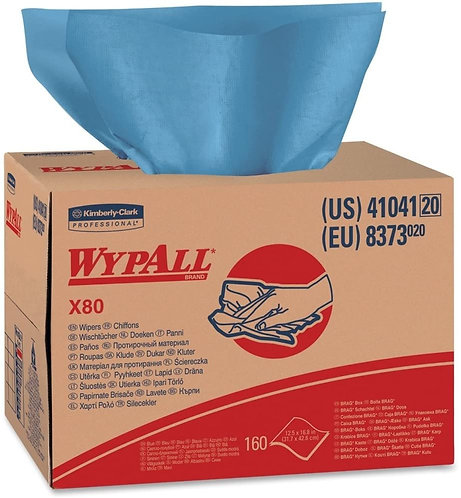 Wypall 41041 X80 Cleaning Cloths, Blue, Brag Box