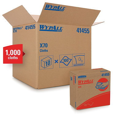 Wypall KC 41455 X70 Cleaning Cloths, White, Pop-Up Box