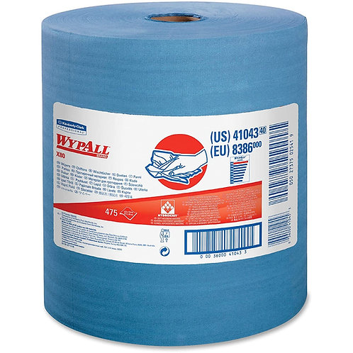Wypall KC 41043 X80 Extended Use Roll Cleaning Cloths, Blue, Jumbo Roll