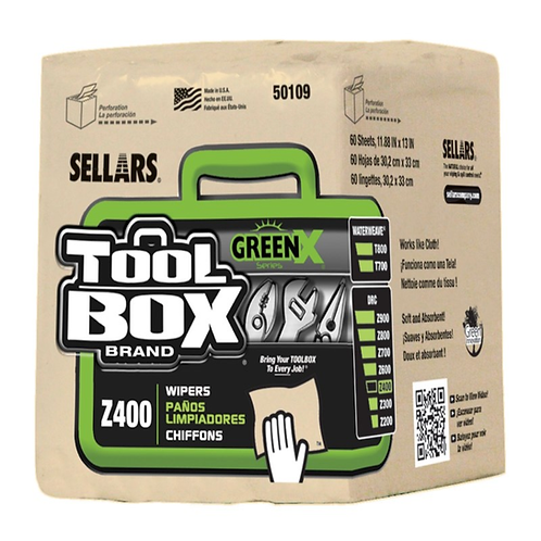 Sellars 50109 TOOLBOX Z400 GreenX Wipers, 1/4 Fold, 60/bundle