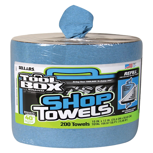 Sellars 55207 Big Grip Blue Shop Towel, Blue, 10x12, 200/rl