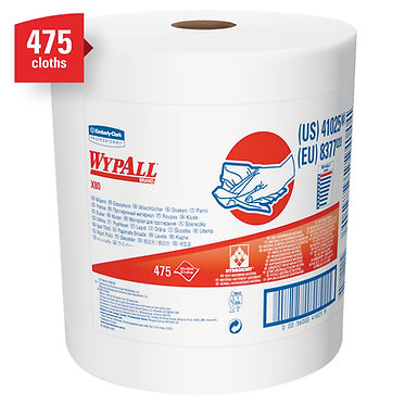 Wypall KC 41025 X80 Extended Use Roll Cleaning Cloths, White, Jumbo Roll