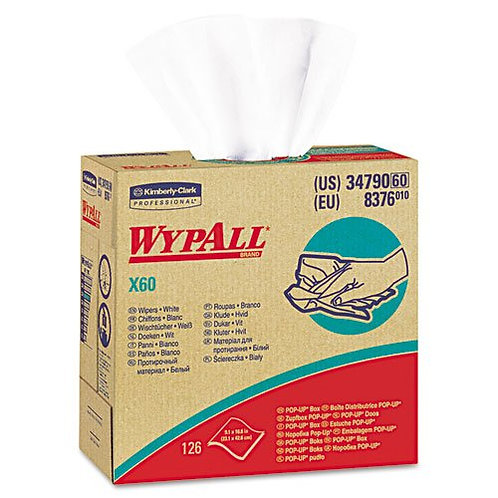 Wypall KC 34790 X60 Light-Duty Cleaning Cloths, White, Pop-Up Box