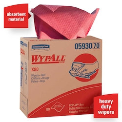 Wypall KC 05930 X80 Extended Use Cleaning Cloths, Red, Pop-Up Box