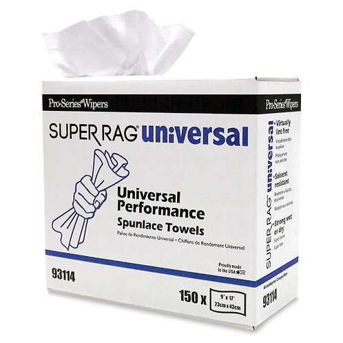 MDI 93114 Super Spunlace Universal Cleaning Rags, 9x17, 150 rags/box