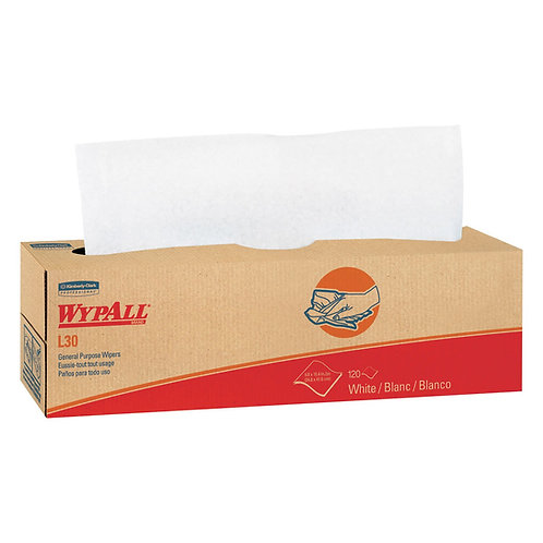 Wypall KC 05800 L30 Light-Duty Cleaning Cloths, White, Pop-Up Box