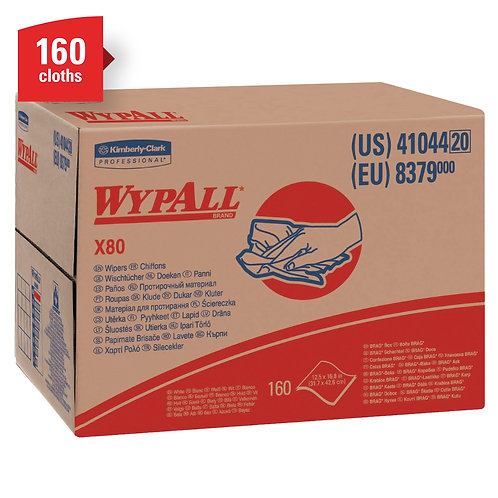 Wypall KC 41044 X80 Extended Use Cleaning Cloths, White, Brag Box