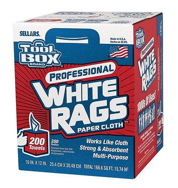 "Sellars 58202 Shop Towel White Rags, White, 10"" x 12"", 200/bx, 6/cs"